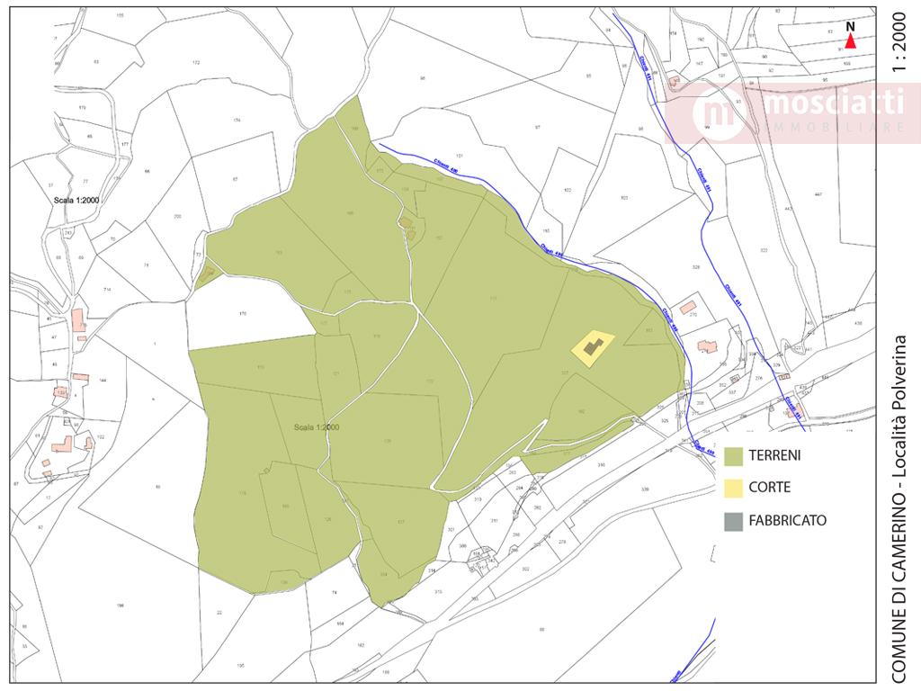 CAMERINO, località Polverina, vendesi FABBRICATO con terreni cod - 1